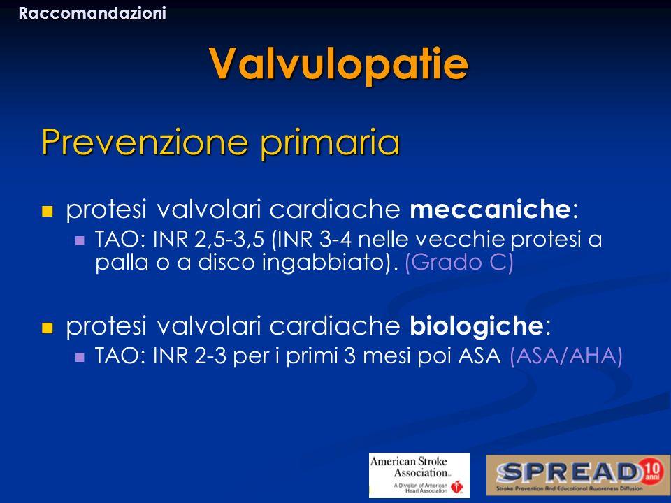 Prevenzione primaria protesi valvolari cardiache meccaniche : TAO: INR 2,5-3,5 (INR 3-4 nelle vecchie protesi a palla o a disco ingabbiato). (Grado C)