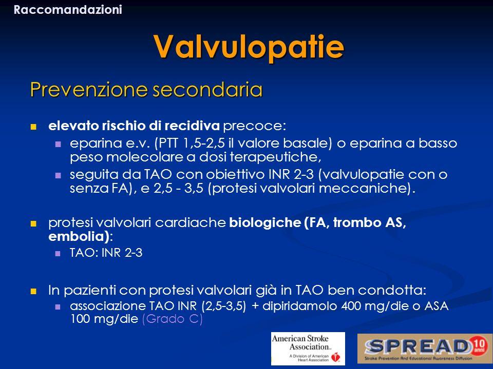 Prevenzione secondaria elevato rischio di recidiva precoce: eparina e.v. (PTT 1,5-2,5 il valore basale) o eparina a basso peso molecolare a dosi terap