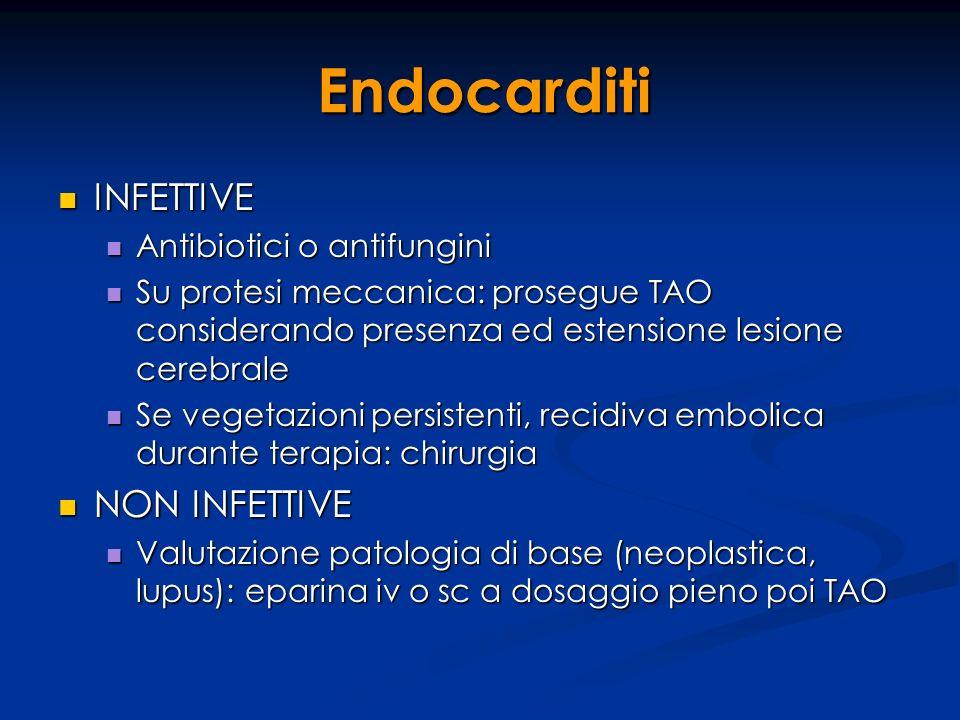Endocarditi INFETTIVE INFETTIVE Antibiotici o antifungini Antibiotici o antifungini Su protesi meccanica: prosegue TAO considerando presenza ed estens