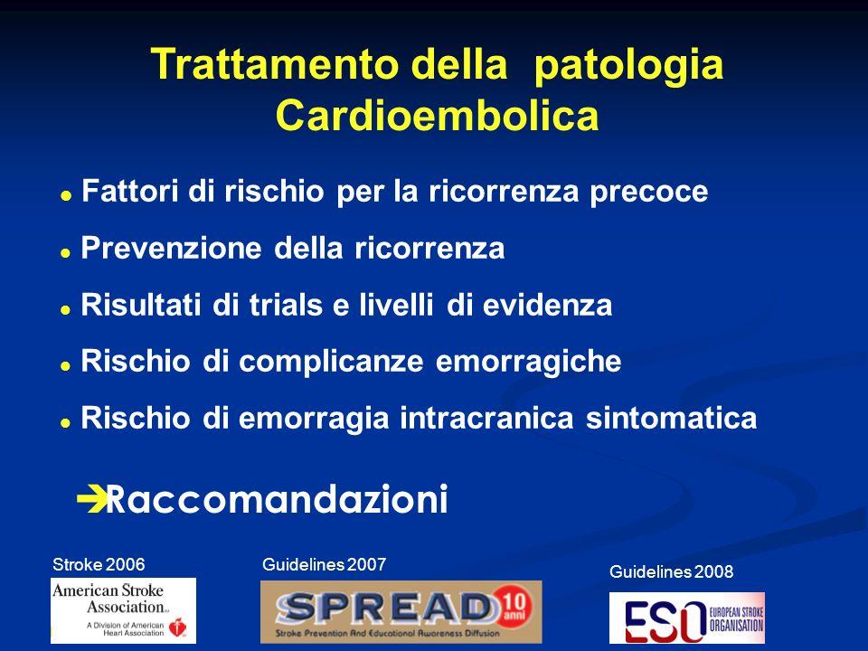 In pazienti con ictus cardioembolico lintroduzione di TAO < 48 h non appare complessivamente vantaggiosa: stratificazione del rischio.