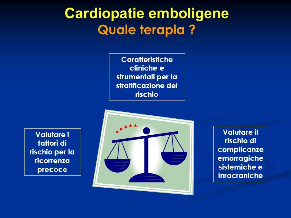 Cardiopatie emboligene Quale terapia ? Valutare i fattori di rischio per la ricorrenza precoce Valutare il rischio di complicanze emorragiche sistemic