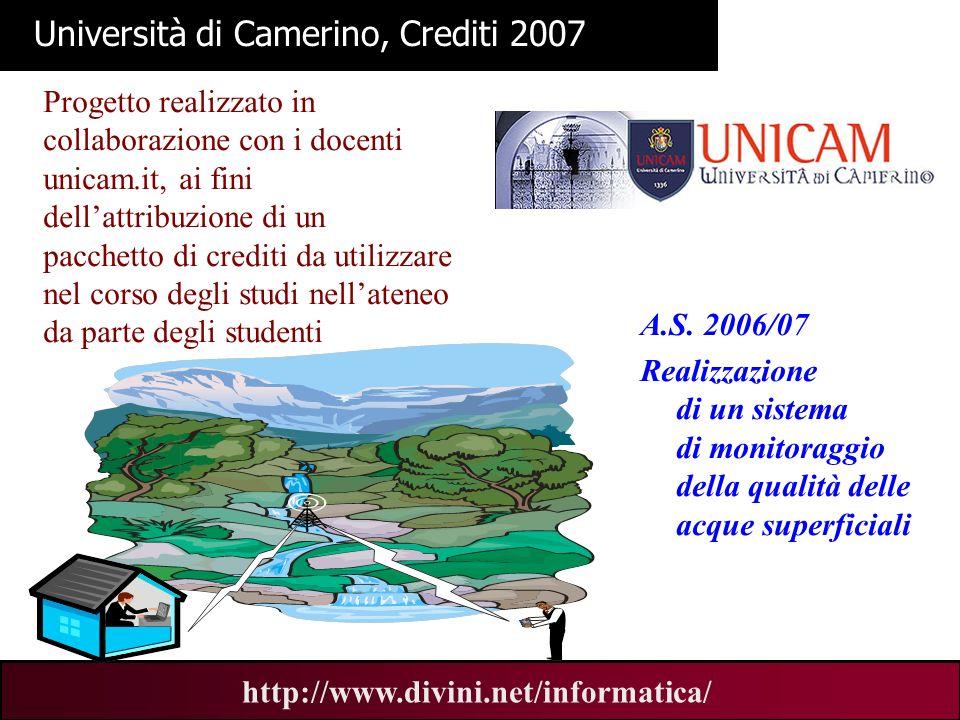 00 AN 6 http://www.divini.net/informatica/ Università di Camerino, Crediti 2007 monitoraggio delle acque i nostri alunni Giannini Andrea e Rilli Samuele, diplomati informatica - a.s.