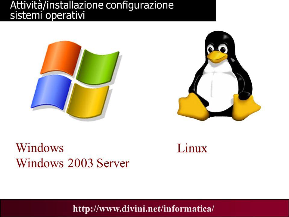 00 AN 9 http://www.divini.net/informatica/ Attività/installazione configurazione sistemi operativi Windows Windows 2003 Server Linux