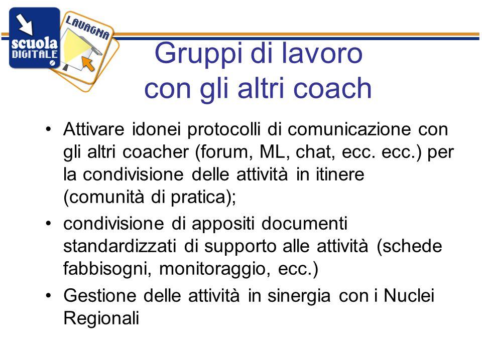 Gruppi di lavoro con gli altri coach Attivare idonei protocolli di comunicazione con gli altri coacher (forum, ML, chat, ecc.