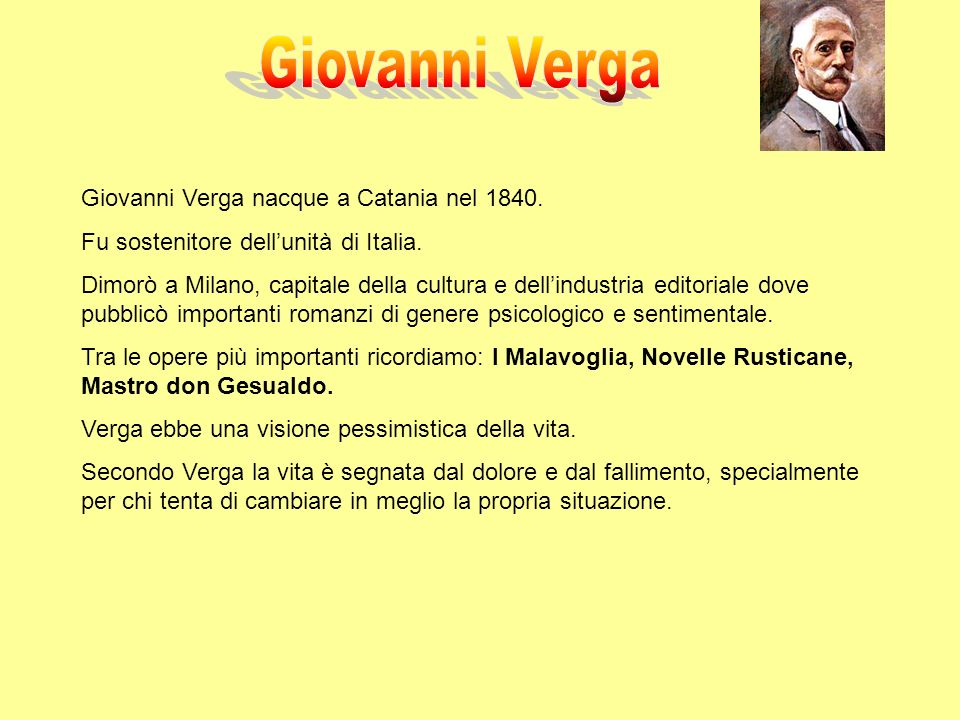 Giovanni Verga nacque a Catania nel 1840. Fu sostenitore dellunità di Italia. Dimorò a Milano, capitale della cultura e dellindustria editoriale dove