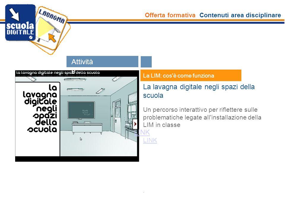 Offerta formativa Contenuti area disciplinare Esperti La LIM: cos'è come funziona La lavagna digitale negli spazi della scuola Un percorso interattivo