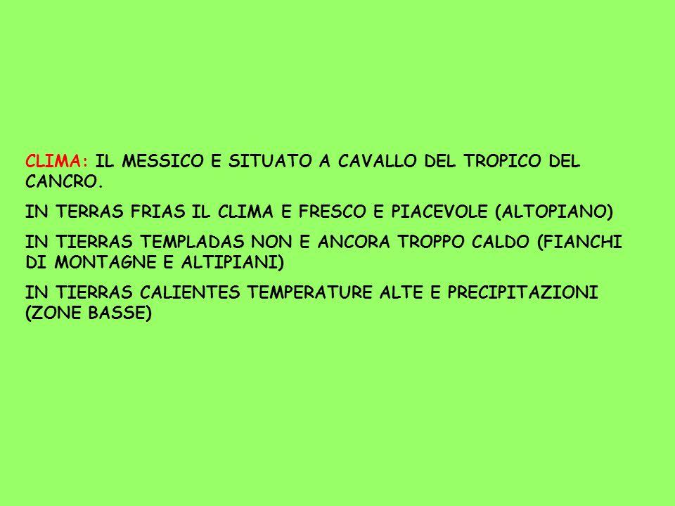 CLIMA: IL MESSICO E SITUATO A CAVALLO DEL TROPICO DEL CANCRO. IN TERRAS FRIAS IL CLIMA E FRESCO E PIACEVOLE (ALTOPIANO) IN TIERRAS TEMPLADAS NON E ANC