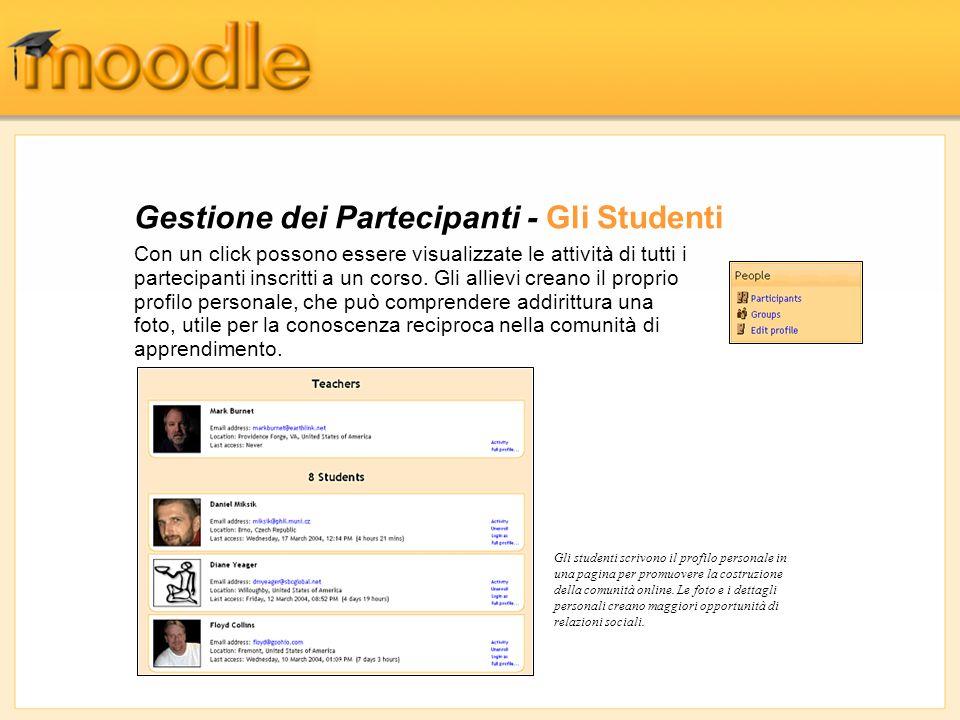 Gestione dei Partecipanti - Gli Studenti Con un click possono essere visualizzate le attività di tutti i partecipanti inscritti a un corso. Gli alliev