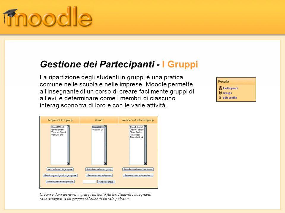 Gestione dei Partecipanti - I Gruppi La ripartizione degli studenti in gruppi è una pratica comune nelle scuola e nelle imprese. Moodle permette all'i