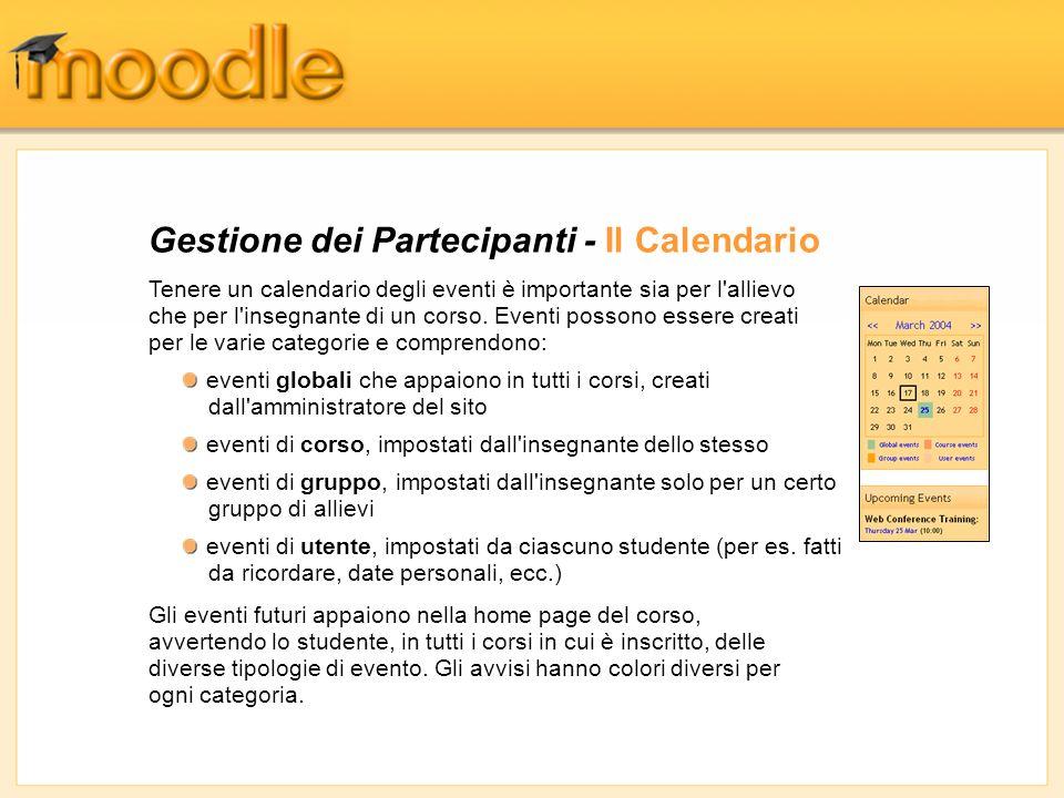 Gestione dei Partecipanti - Il Calendario Tenere un calendario degli eventi è importante sia per l'allievo che per l'insegnante di un corso. Eventi po