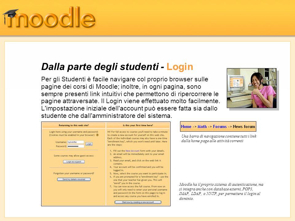 Dalla parte degli studenti - Login Per gli Studenti è facile navigare col proprio browser sulle pagine dei corsi di Moodle; inoltre, in ogni pagina, s
