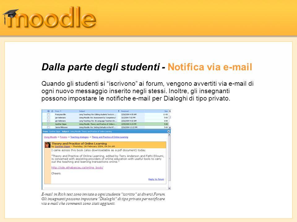 Dalla parte degli studenti - Notifica via e-mail E-mail in Rich text sono inviate a ogni studente