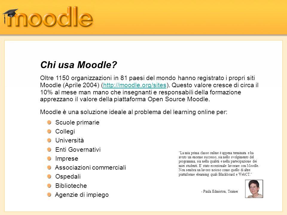 Oltre 1150 organizzazioni in 81 paesi del mondo hanno registrato i propri siti Moodle (Aprile 2004) (http://moodle.org/sites). Questo valore cresce di