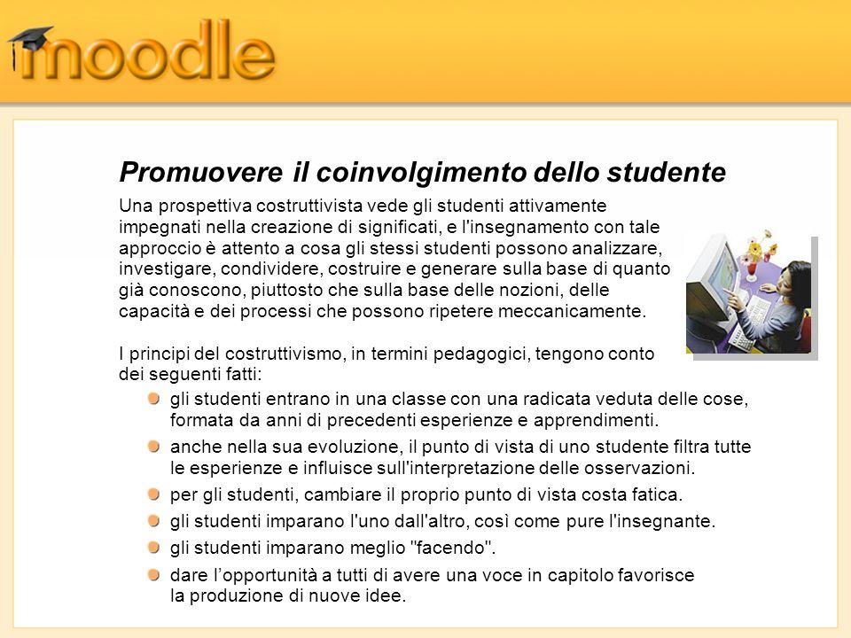 Promuovere il coinvolgimento dello studente Una prospettiva costruttivista vede gli studenti attivamente impegnati nella creazione di significati, e l