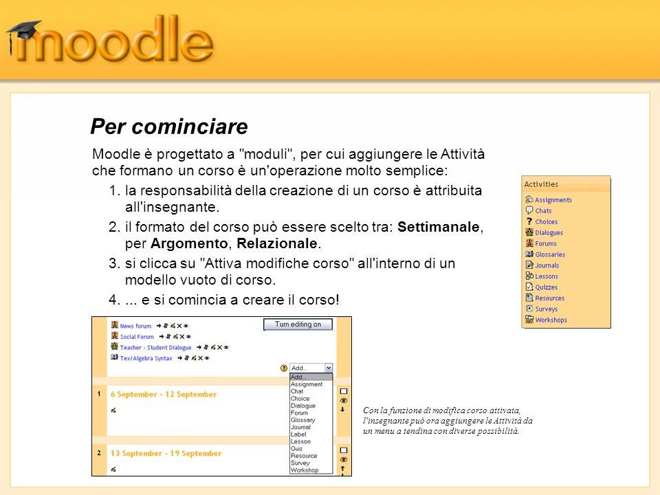 Oltre 1150 organizzazioni in 81 paesi del mondo hanno registrato i propri siti Moodle (Aprile 2004) (http://moodle.org/sites).