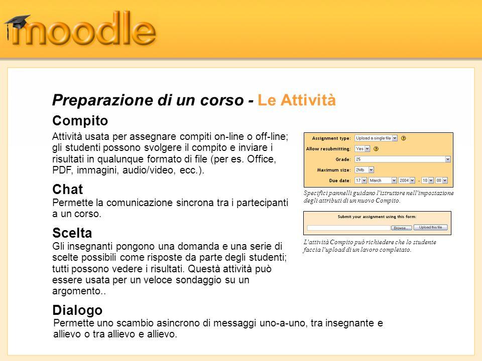 Gestione dei Partecipanti - I Voti La funzione per la gestione dei Voti in Moodle permette di visualizzare complessivamente tutte le votazioni ottenute ai Forum, ai Compiti, ai Diari, ai Quiz, alle Lezioni e ai Workshop.