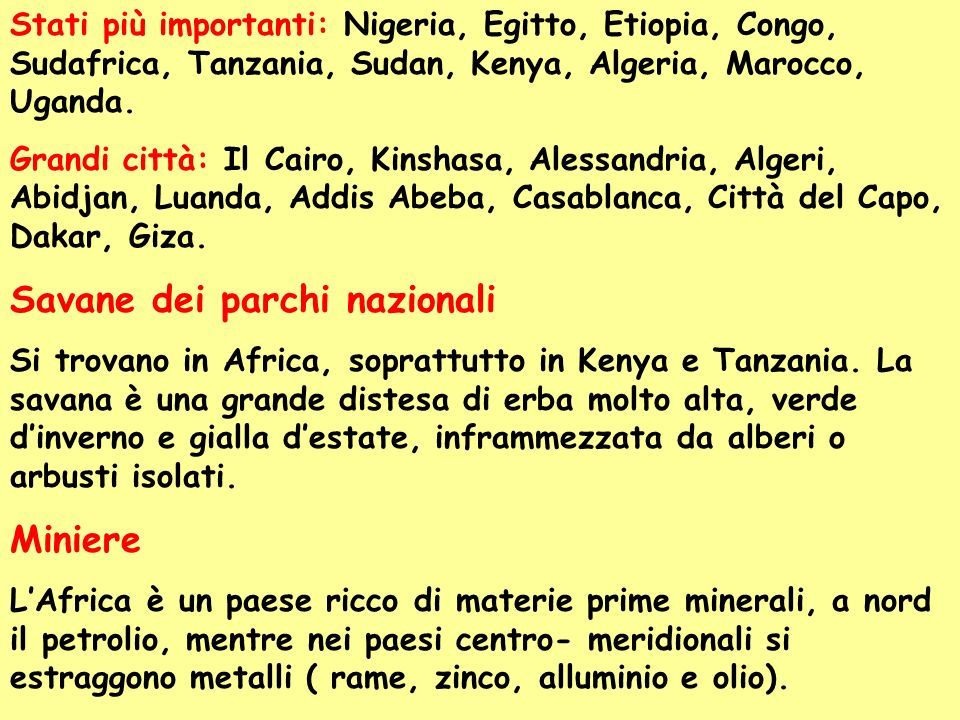 Stati più importanti: Nigeria, Egitto, Etiopia, Congo, Sudafrica, Tanzania, Sudan, Kenya, Algeria, Marocco, Uganda. Grandi città: Il Cairo, Kinshasa,