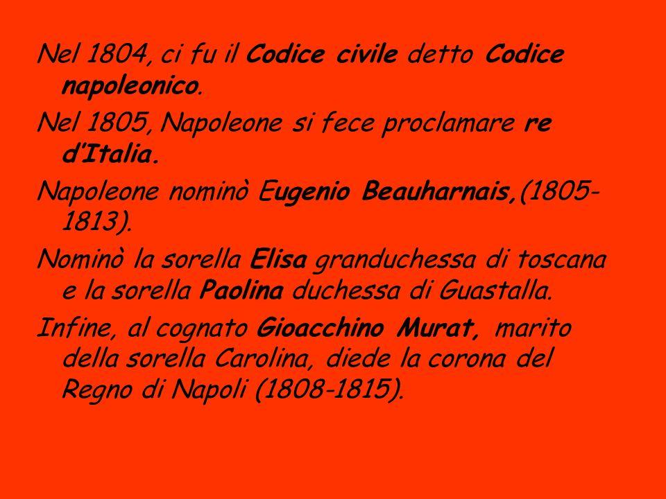 Nel 1804, ci fu il Codice civile detto Codice napoleonico. Nel 1805, Napoleone si fece proclamare re dItalia. Napoleone nominò Eugenio Beauharnais,(18