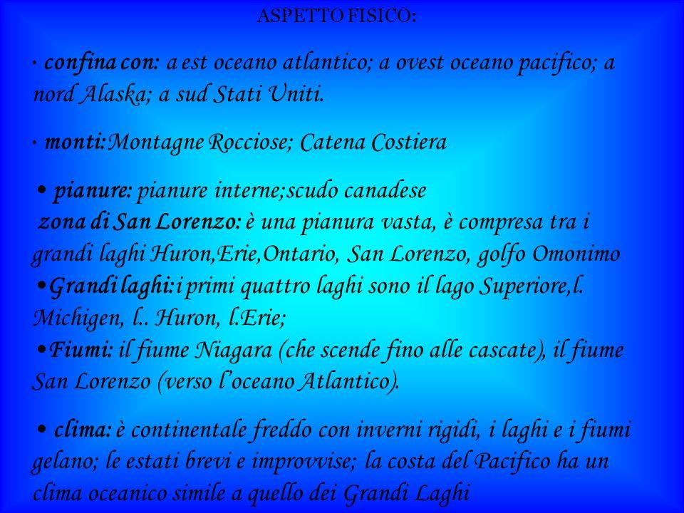 ASPETTO FISICO: confina con: a est oceano atlantico; a ovest oceano pacifico; a nord Alaska; a sud Stati Uniti.