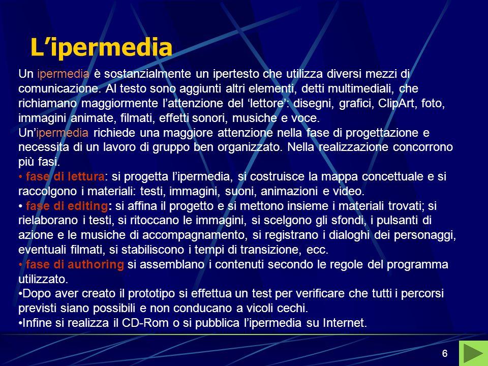 6 Lipermedia Un ipermedia è sostanzialmente un ipertesto che utilizza diversi mezzi di comunicazione.