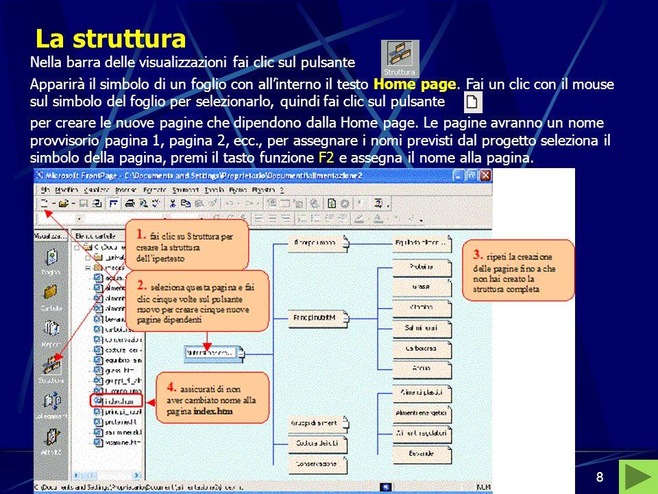 Bernardo - Pedone, Informatica di base8 La struttura Nella barra delle visualizzazioni fai clic sul pulsante Apparirà il simbolo di un foglio con allinterno il testo Home page.