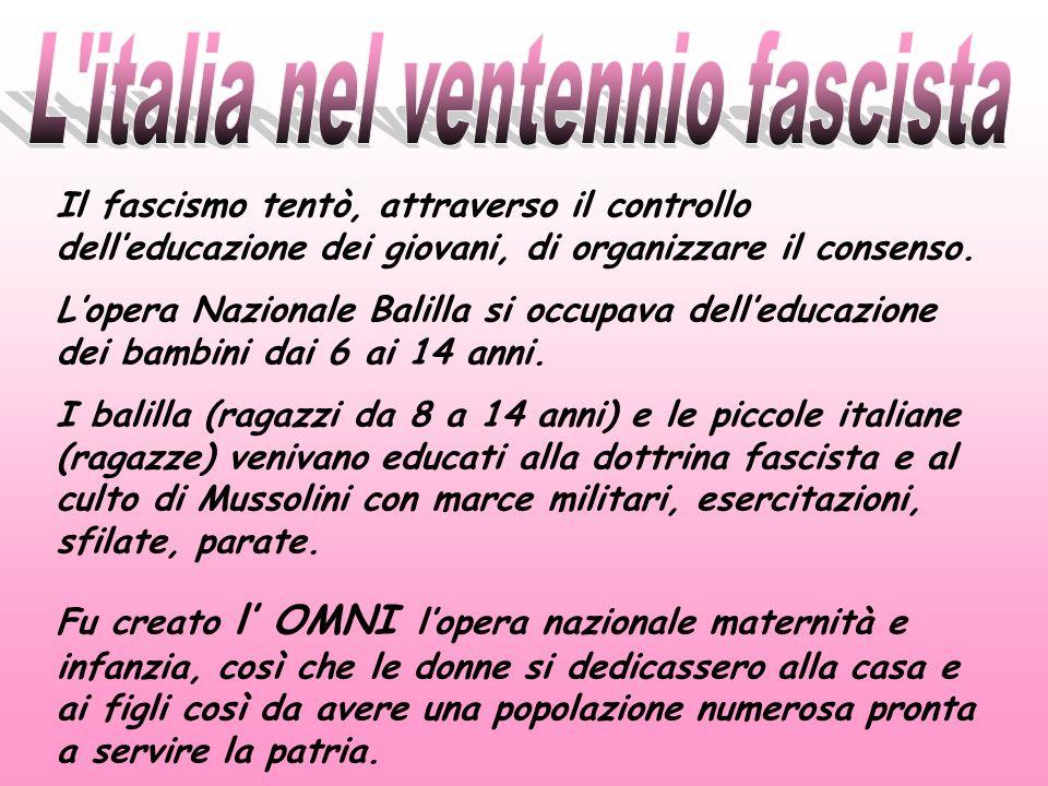 Il fascismo tentò, attraverso il controllo delleducazione dei giovani, di organizzare il consenso. Lopera Nazionale Balilla si occupava delleducazione