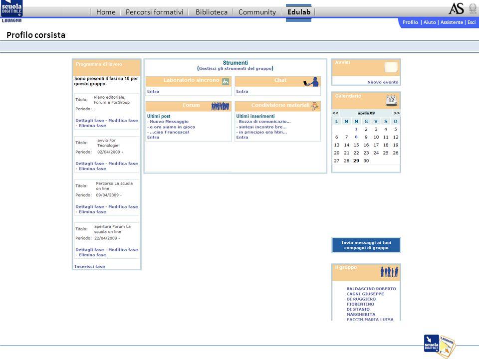 Profilo | Aiuto | Assistente | Esci Percorsi formativiBibliotecaCommunityEdulab Profilo corsista Home