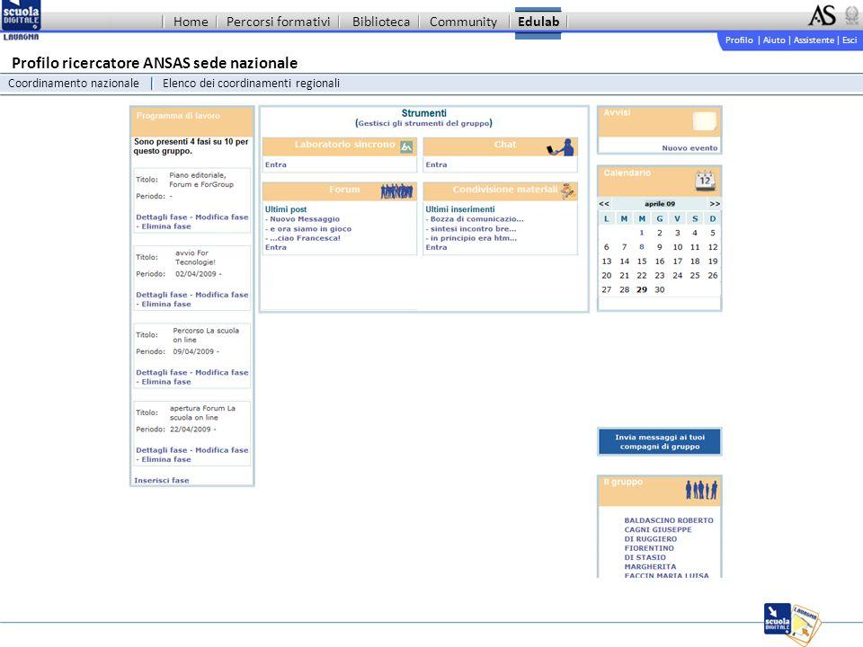 Profilo | Aiuto | Assistente | Esci Percorsi formativiBibliotecaCommunityEdulab Profilo ricercatore ANSAS sede nazionale Coordinamento nazionaleElenco dei coordinamenti regionali Home