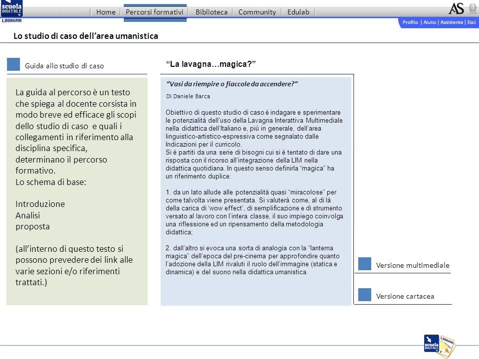 Profilo | Aiuto | Assistente | Esci Percorsi formativiBibliotecaCommunityEdulab La lavagna…magica.