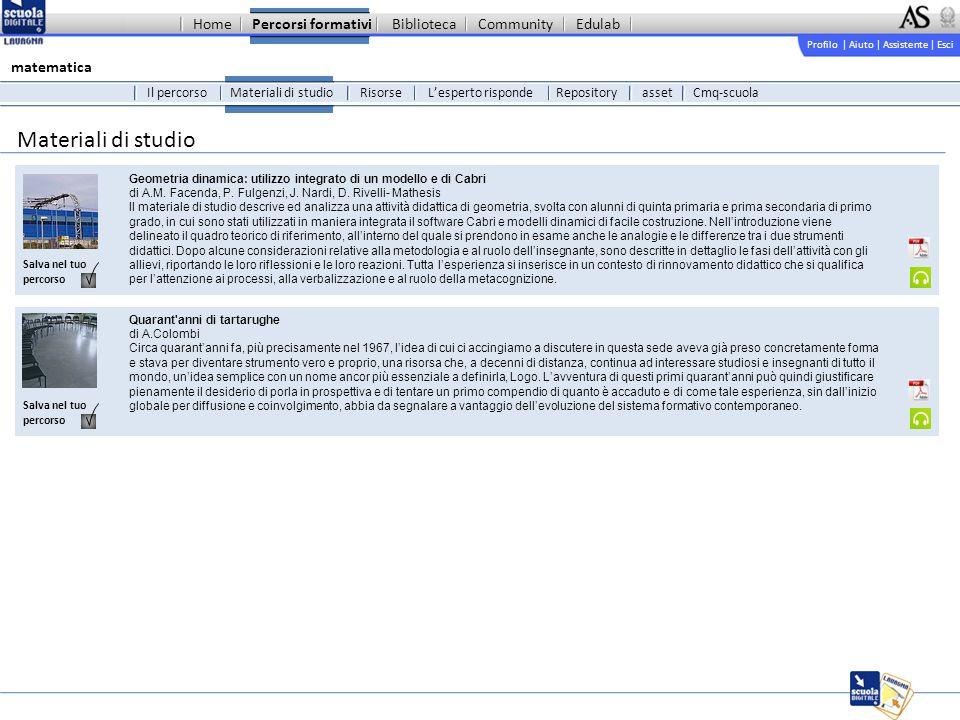 Profilo | Aiuto | Assistente | Esci Percorsi formativiBibliotecaCommunityEdulab Materiali di studio Geometria dinamica: utilizzo integrato di un modello e di Cabri di A.M.