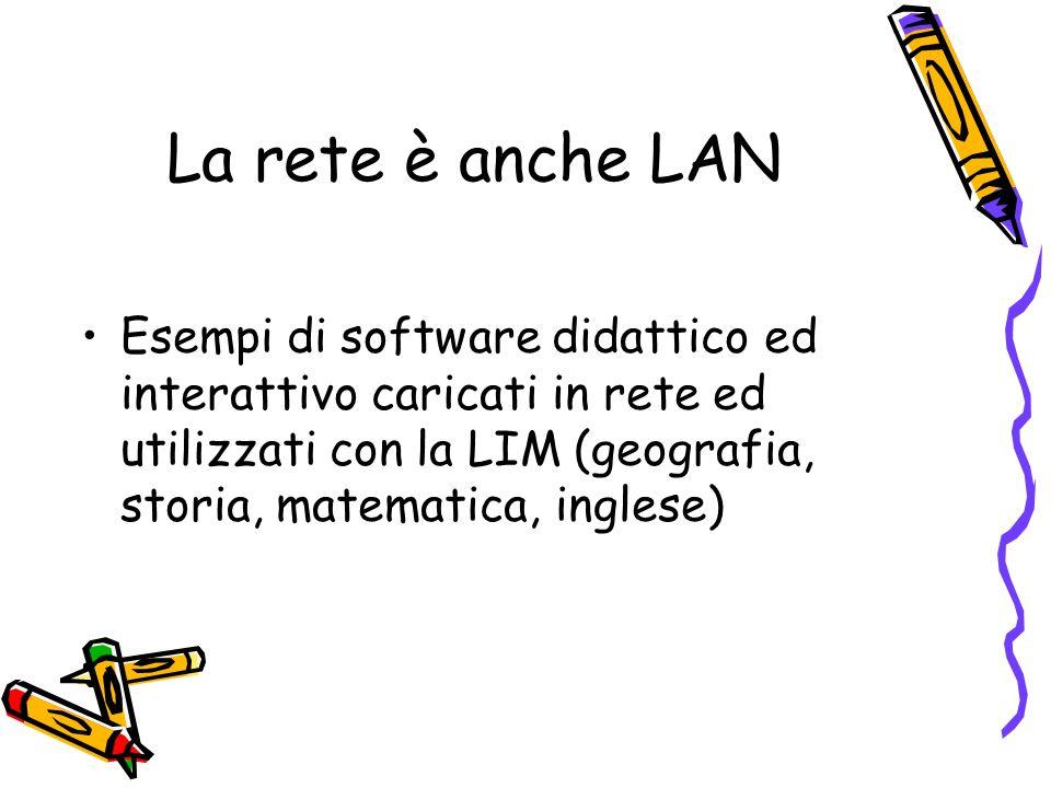 La rete è anche LAN Esempi di software didattico ed interattivo caricati in rete ed utilizzati con la LIM (geografia, storia, matematica, inglese)