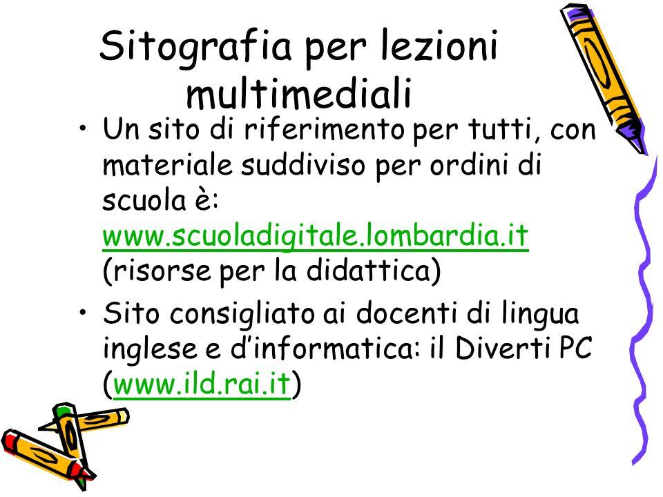 Sitografia per lezioni multimediali Un sito di riferimento per tutti, con materiale suddiviso per ordini di scuola è: www.scuoladigitale.lombardia.it