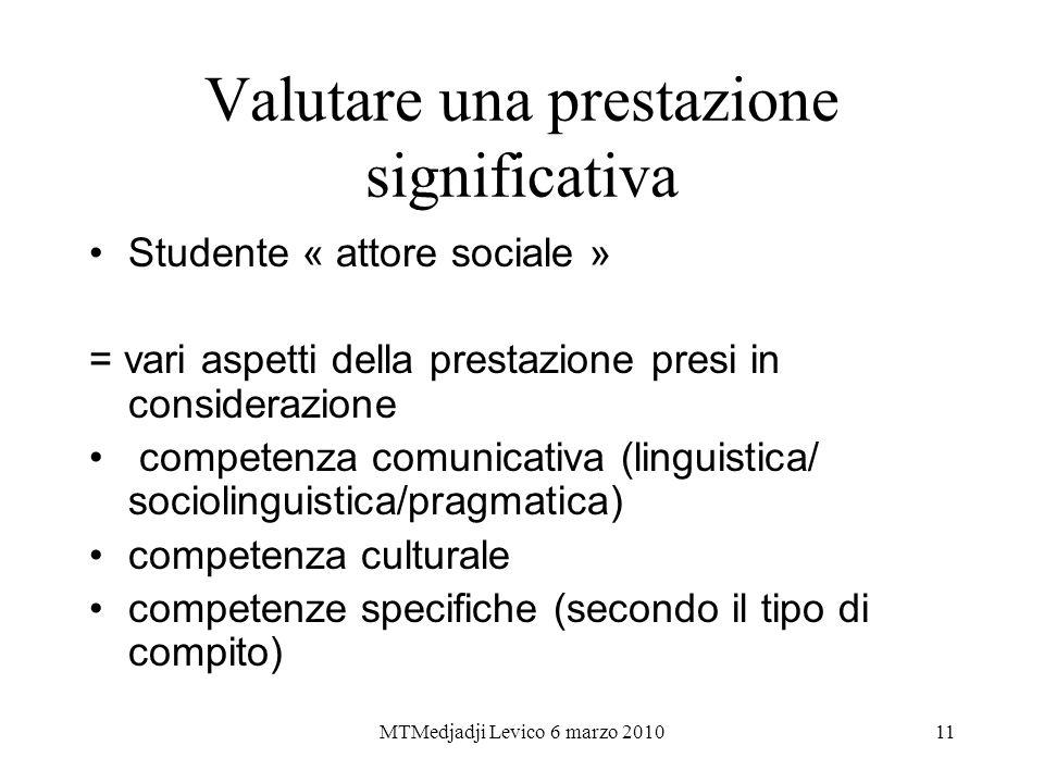 MTMedjadji Levico 6 marzo 201011 Valutare una prestazione significativa Studente « attore sociale » = vari aspetti della prestazione presi in consider