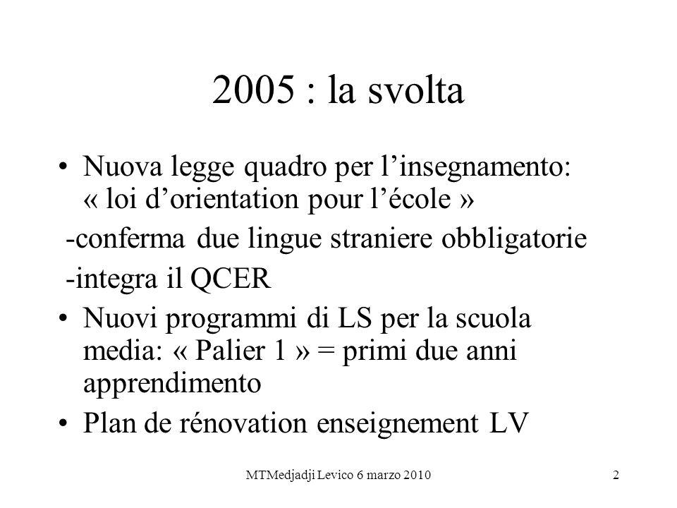 MTMedjadji Levico 6 marzo 20102 2005 : la svolta Nuova legge quadro per linsegnamento: « loi dorientation pour lécole » -conferma due lingue straniere
