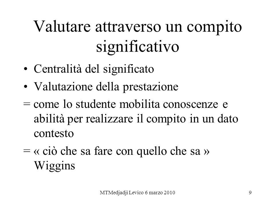 MTMedjadji Levico 6 marzo 20109 Valutare attraverso un compito significativo Centralità del significato Valutazione della prestazione = come lo studen