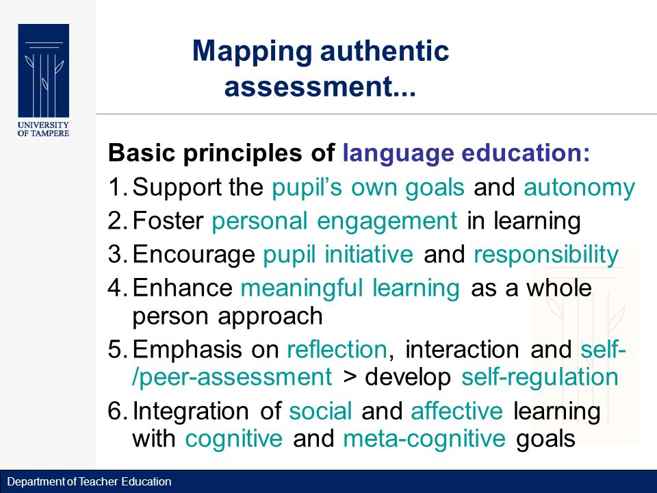 Department of Teacher Education Mapping authentic assessment...