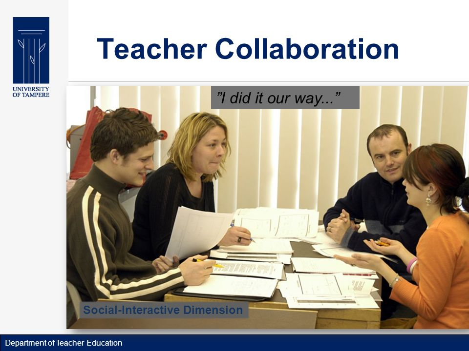 Department of Teacher Education Teacher Collaboration I did it our way...