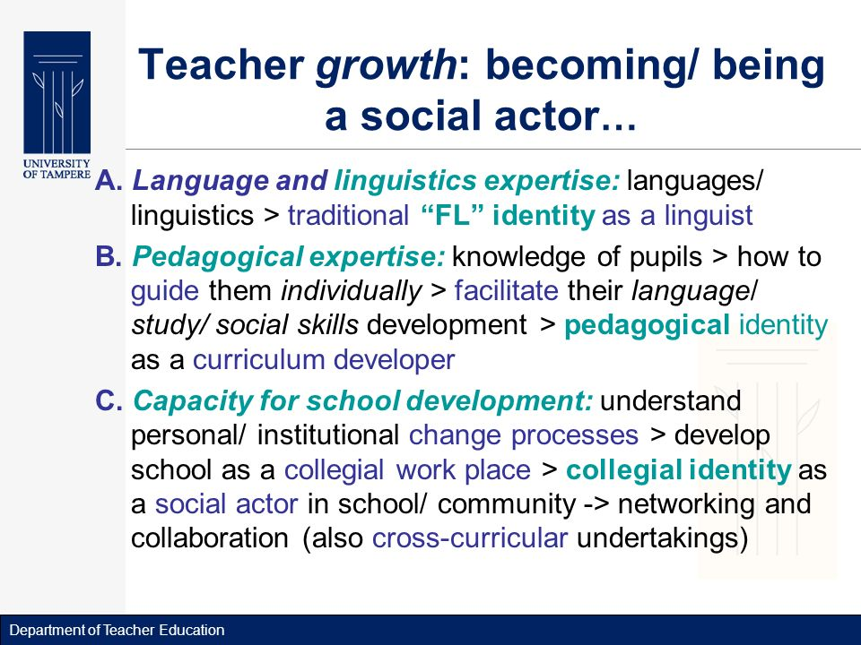 Department of Teacher Education Teacher growth: becoming/ being a social actor … A.