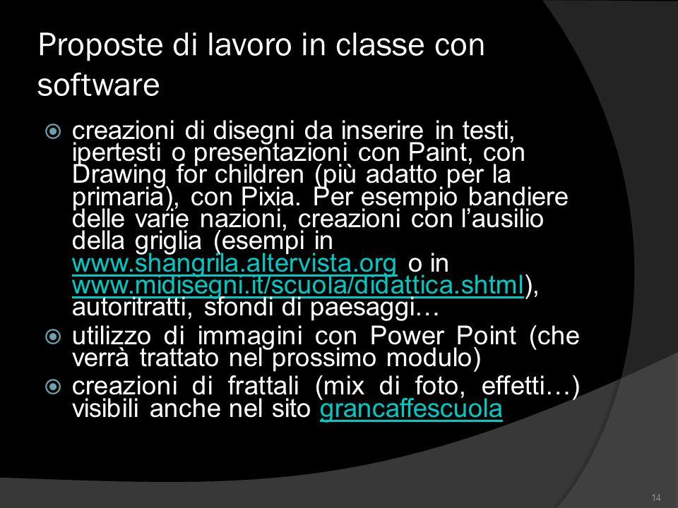 Proposte di lavoro in classe con software creazioni di disegni da inserire in testi, ipertesti o presentazioni con Paint, con Drawing for children (più adatto per la primaria), con Pixia.