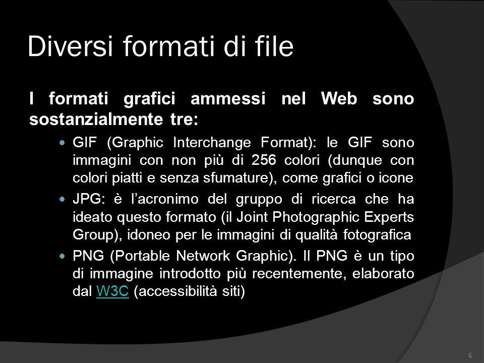 Diversi formati di file I formati grafici ammessi nel Web sono sostanzialmente tre: GIF (Graphic Interchange Format): le GIF sono immagini con non più di 256 colori (dunque con colori piatti e senza sfumature), come grafici o icone JPG: è lacronimo del gruppo di ricerca che ha ideato questo formato (il Joint Photographic Experts Group), idoneo per le immagini di qualità fotografica PNG (Portable Network Graphic).