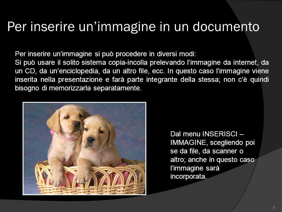 Per inserire unimmagine in un documento 9 Per inserire unimmagine si può procedere in diversi modi: Si può usare il solito sistema copia-incolla prelevando limmagine da internet, da un CD, da unenciclopedia, da un altro file, ecc.
