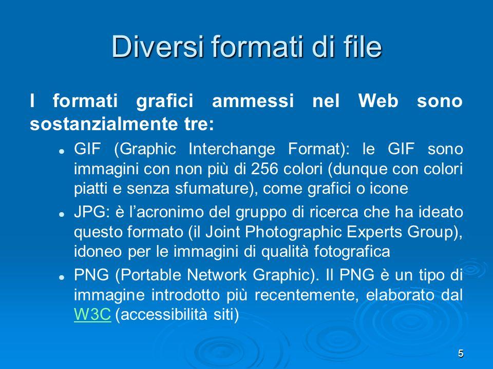 5 Diversi formati di file I formati grafici ammessi nel Web sono sostanzialmente tre: GIF (Graphic Interchange Format): le GIF sono immagini con non più di 256 colori (dunque con colori piatti e senza sfumature), come grafici o icone JPG: è lacronimo del gruppo di ricerca che ha ideato questo formato (il Joint Photographic Experts Group), idoneo per le immagini di qualità fotografica PNG (Portable Network Graphic).