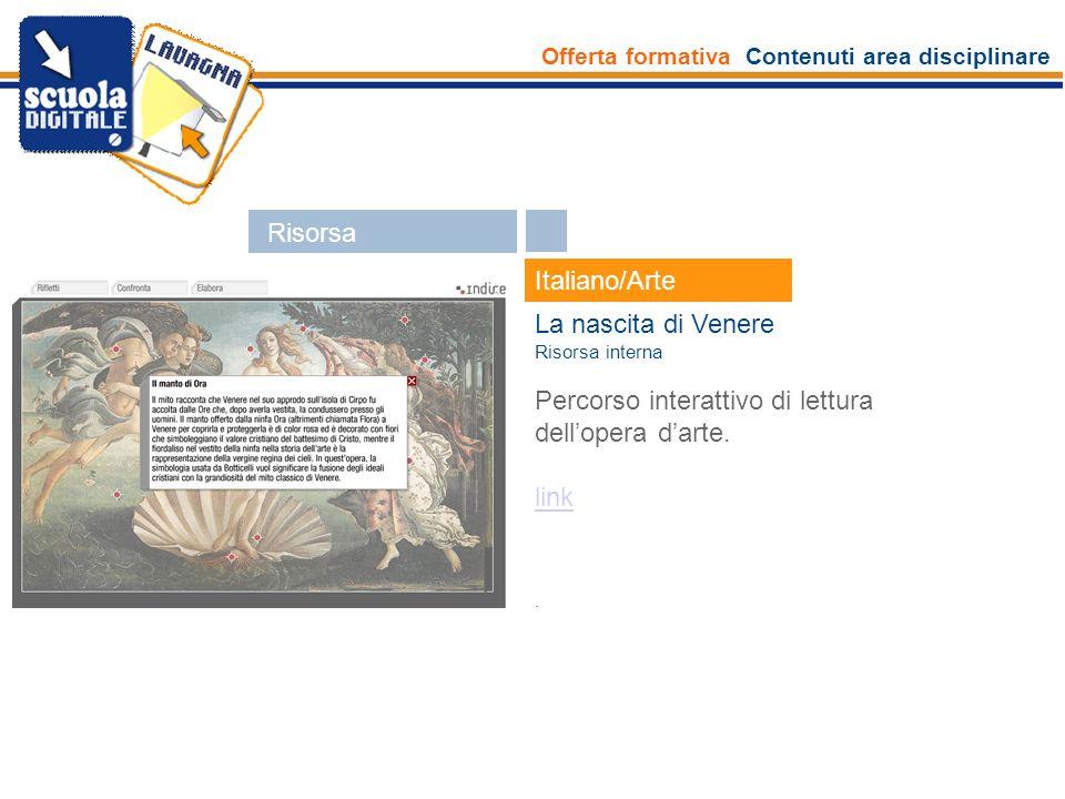 Offerta formativa Contenuti area disciplinare Esperti Italiano/Arte La nascita di Venere Risorsa interna Percorso interattivo di lettura dellopera dar