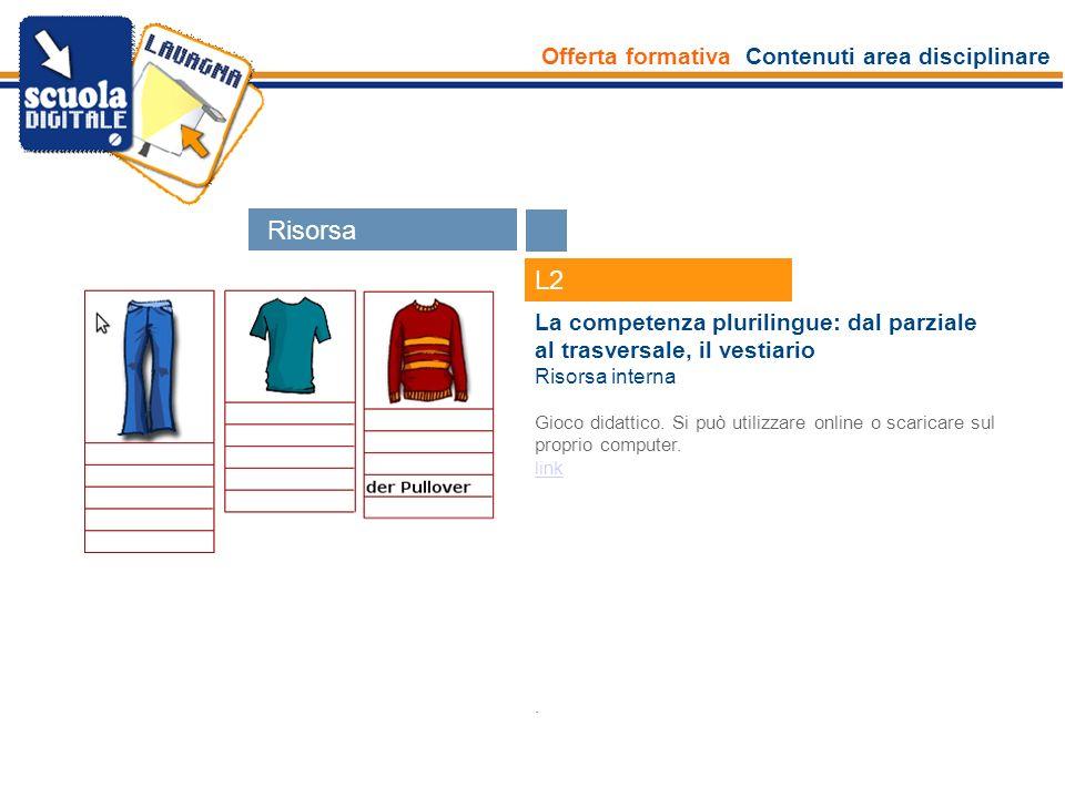 Offerta formativa Contenuti area disciplinare Esperti L2 La competenza plurilingue: dal parziale al trasversale, il vestiario Risorsa interna Gioco di