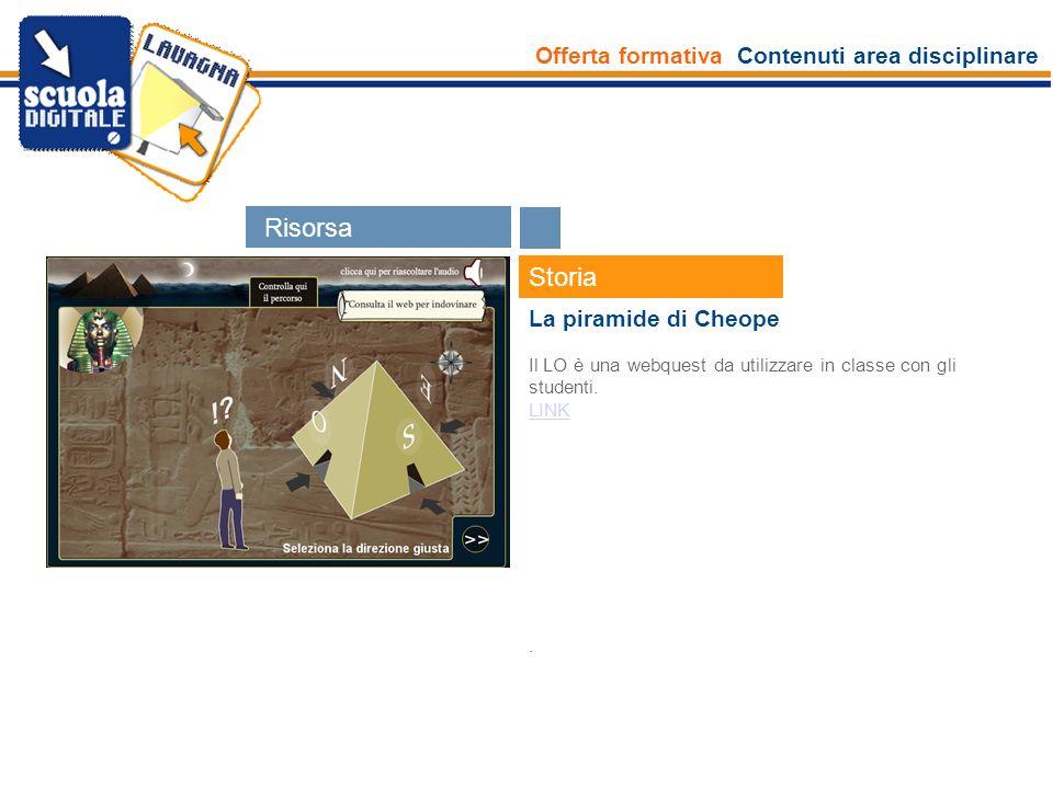Offerta formativa Contenuti area disciplinare Esperti Storia La piramide di Cheope Il LO è una webquest da utilizzare in classe con gli studenti. LINK