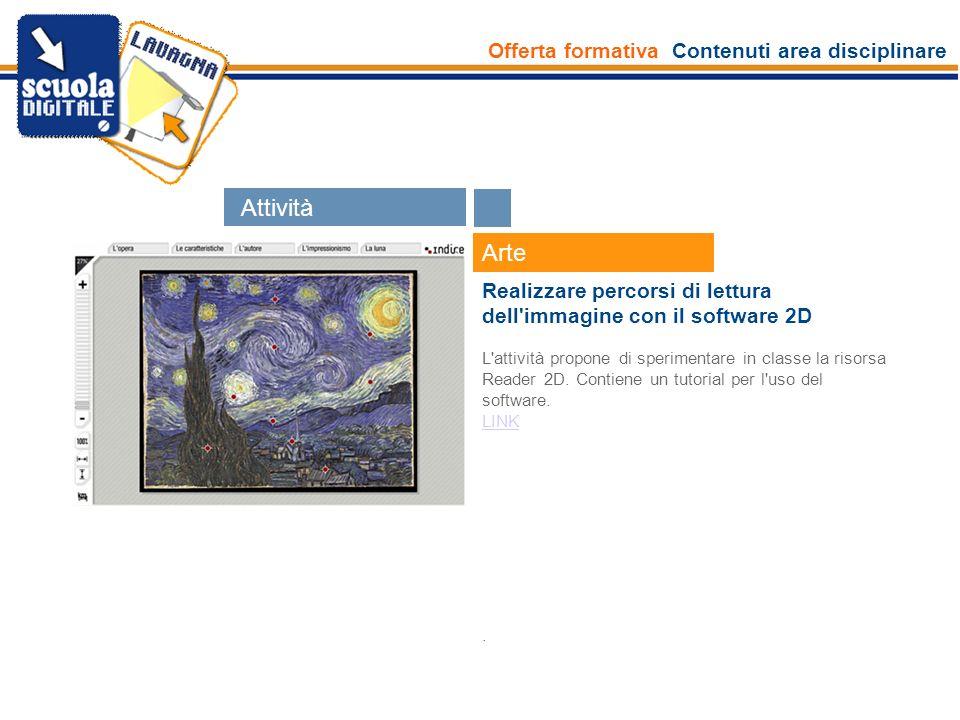 Offerta formativa Contenuti area disciplinare Esperti Arte Realizzare percorsi di lettura dell'immagine con il software 2D L'attività propone di speri