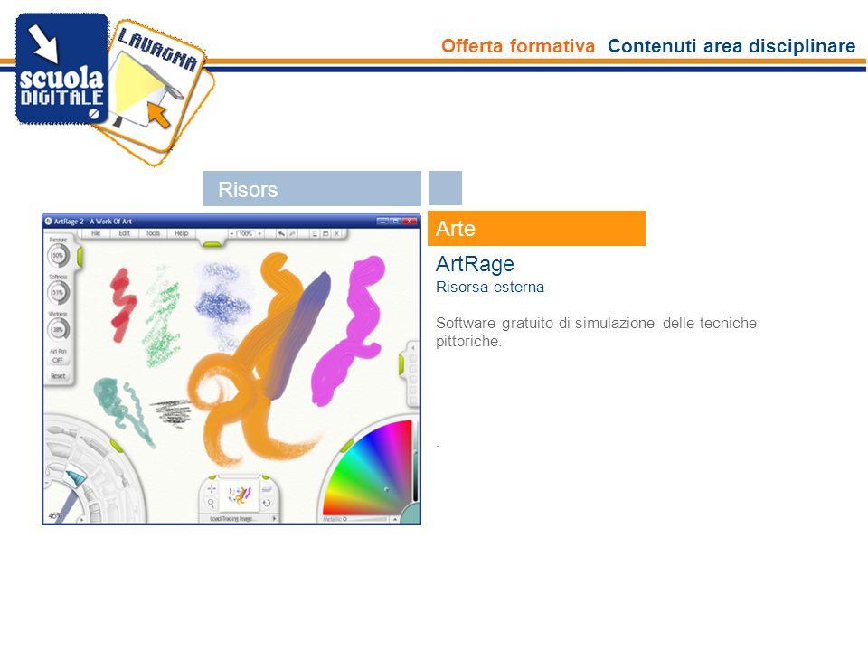 Offerta formativa Contenuti area disciplinare Esperti Arte ArtRage Risorsa esterna Software gratuito di simulazione delle tecniche pittoriche.. Risors