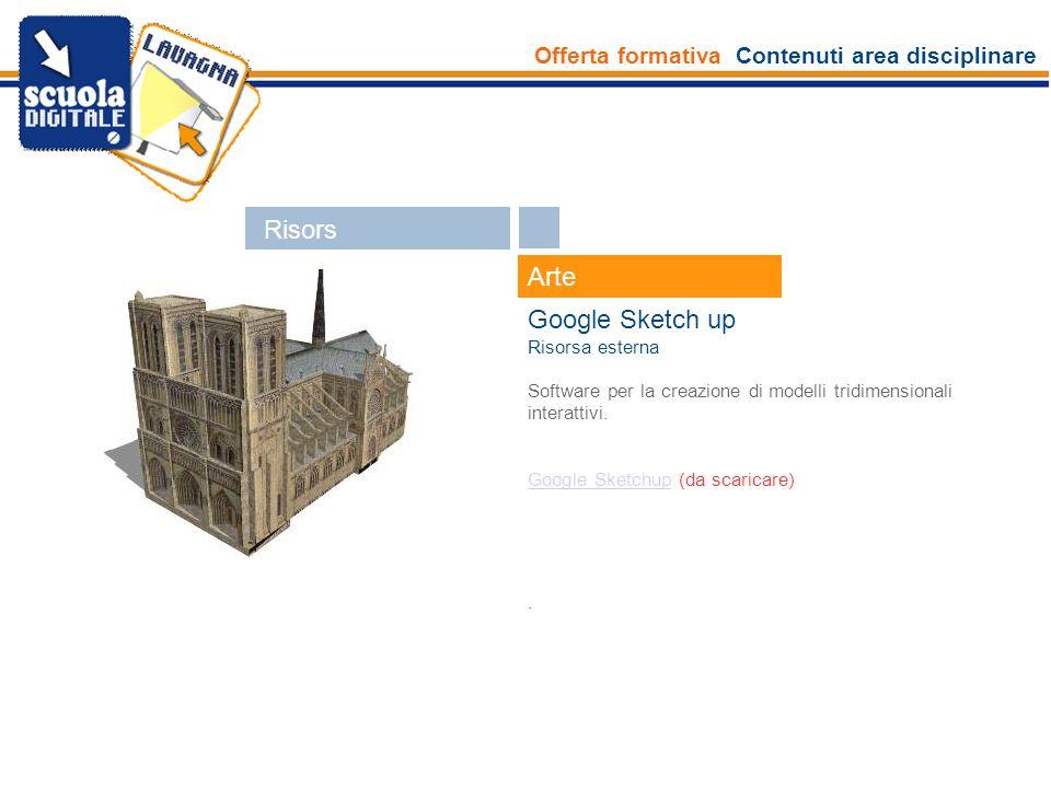 Offerta formativa Contenuti area disciplinare Esperti Arte Google Sketch up Risorsa esterna Software per la creazione di modelli tridimensionali inter
