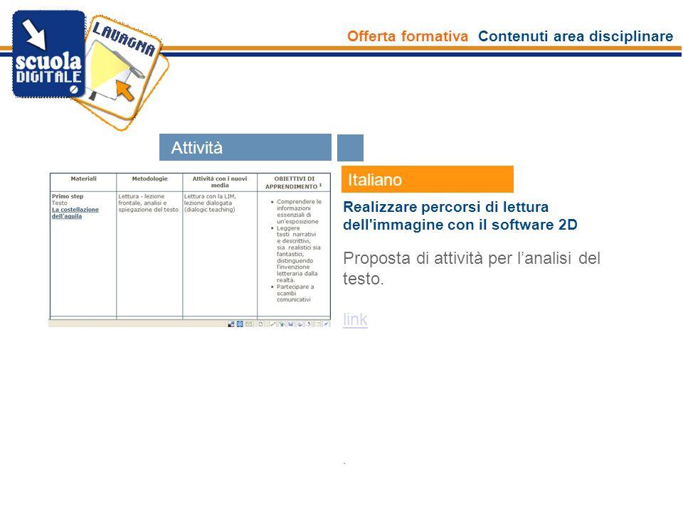 Offerta formativa Contenuti area disciplinare Esperti Italiano Realizzare percorsi di lettura dell'immagine con il software 2D Proposta di attività pe