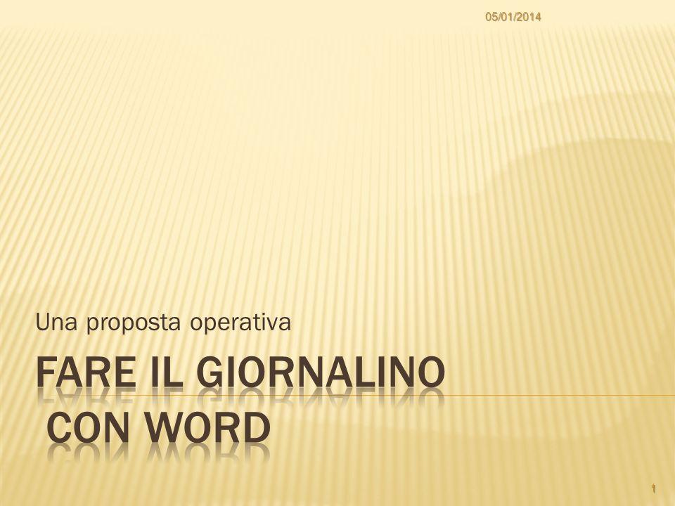 Una proposta operativa 05/01/2014 1